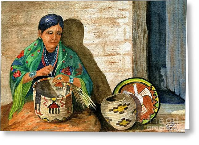 Hopi Basket Weaver Greeting Card