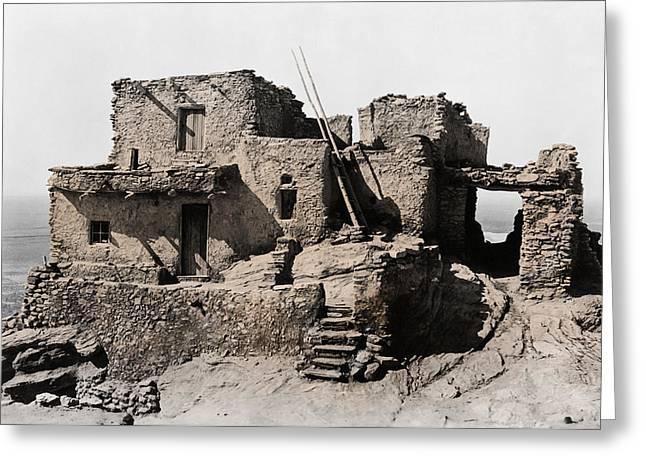 Hopi Hilltop Indian Dwelling 1920 Greeting Card by Daniel Hagerman