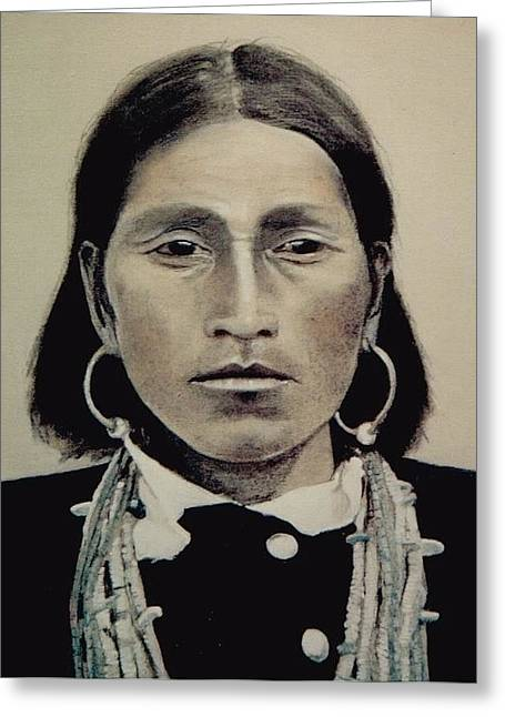 Hopi Woman Of The First Light Greeting Card by Terri Ana Stokes