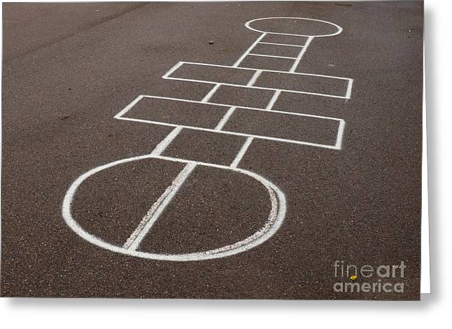 Hopscotch On Schoolyard Greeting Card by Kerstin Ivarsson