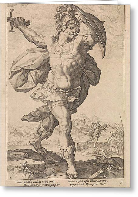 Horatius Codes, Anonymous, Hendrick Goltzius Greeting Card
