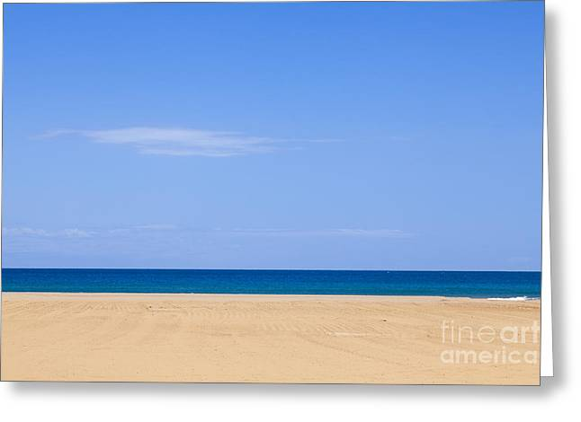 Horizontal Lines Of Sandy Beach Blue Sea And Sky Greeting Card
