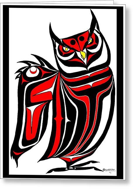 Hornd Owl Greeting Card by Speakthunder Berry