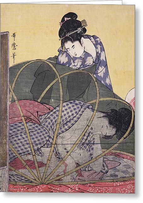 Horo-gaya = Mosquito Net For A Baby, Kitagawa Greeting Card by Artokoloro