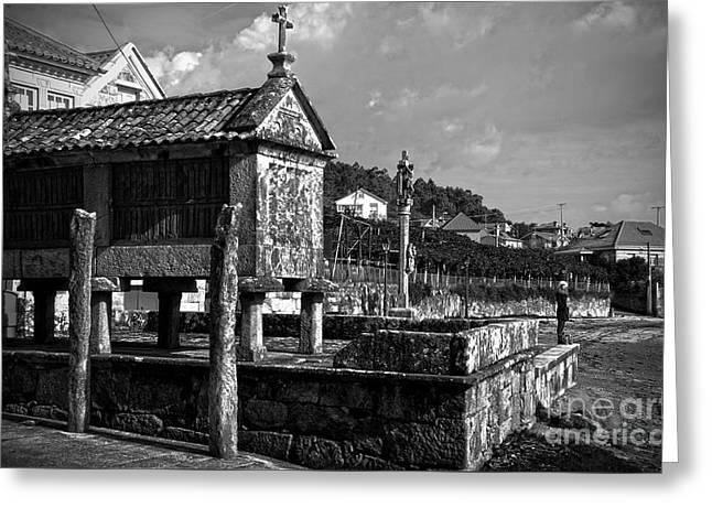 Horreo And Cruceiro In Galicia Bw Greeting Card
