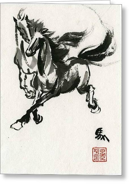 Greeting Card featuring the painting Horse #1 by Ping Yan
