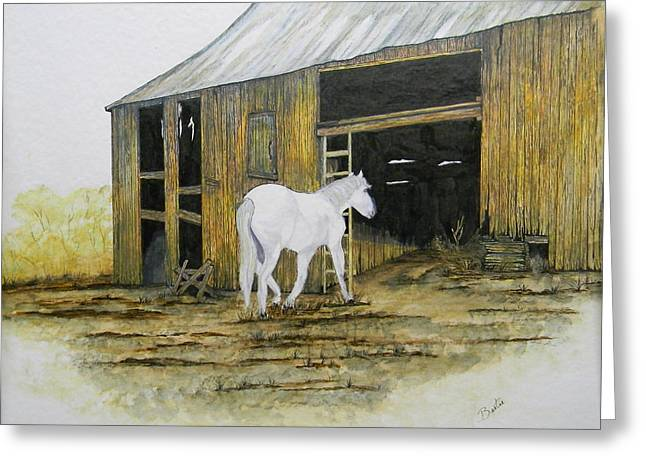 Horse And Barn Greeting Card by Bertie Edwards
