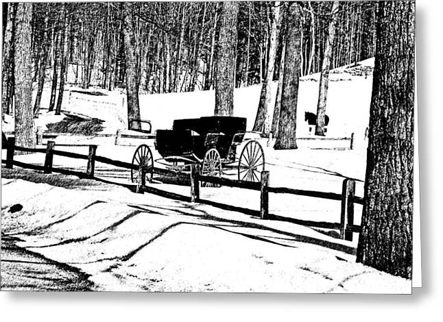 Greeting Card featuring the photograph Horse And Buggy - No Work Today A Black And White Abstract by Janice Adomeit