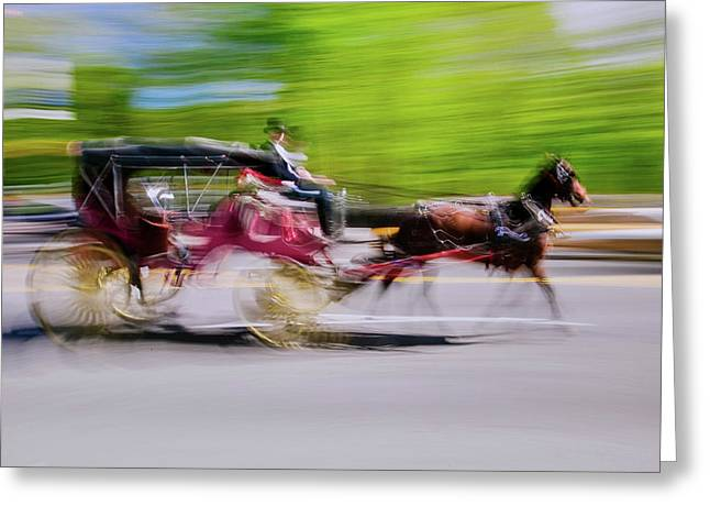 Horse And Carriage Drives In Traffic Greeting Card