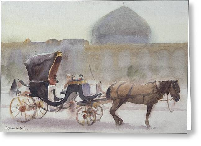 Horse And Carriage, Naghshe Jahan Square, Isfahan Wc On Paper Greeting Card