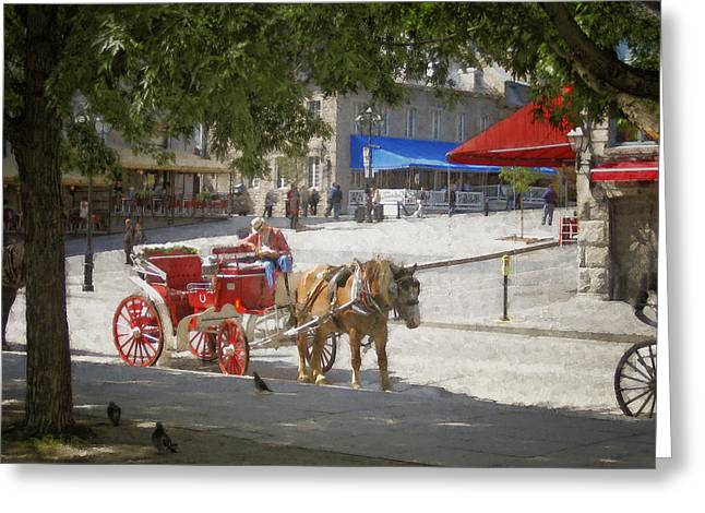 Horse And Carriage Street Scene Montreal Greeting Card by Ann Powell