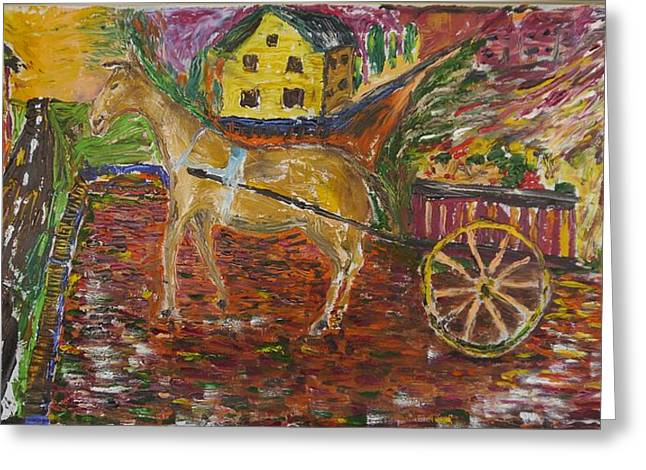 Horse And Cart Greeting Card by Dozel Lake