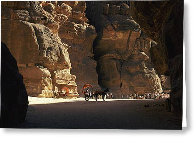Horse And Cart In The Siq, Wadi Musa Greeting Card by Panoramic Images