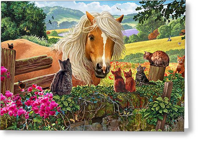 Horse And Cats Greeting Card by Steve Crisp
