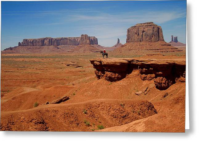 Horse And Rider In Monument Valley Greeting Card