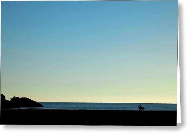 Horse And Rider On Stradbally Beach Greeting Card by Panoramic Images