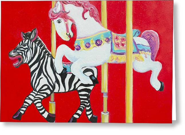 Horse And Zebra Carousel Greeting Card by Jan Matson