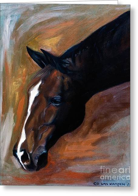 Greeting Card featuring the painting horse - Apple copper by Go Van Kampen