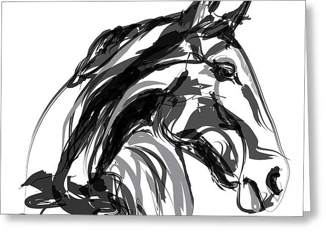 Horse- Apple -digi - Black And White Greeting Card