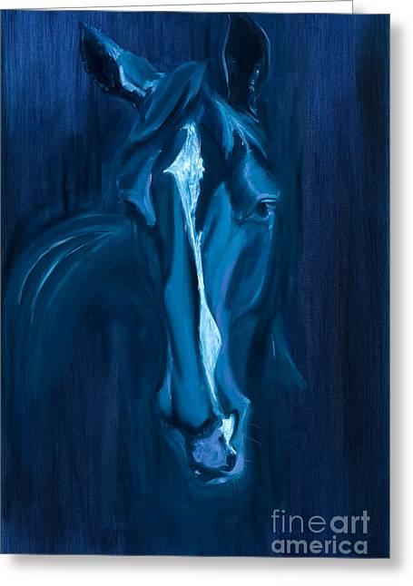 horse - Apple indigo Greeting Card