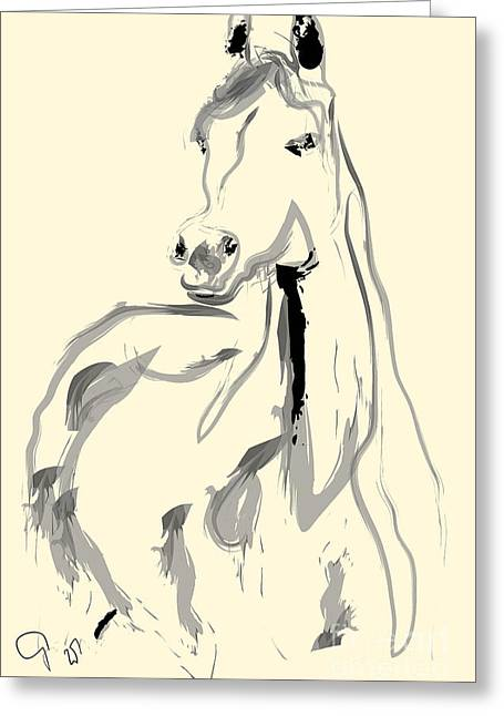 Greeting Card featuring the painting Horse - Arab by Go Van Kampen