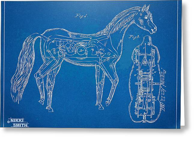 Horse Automatic Toy Patent Artwork 1867 Greeting Card