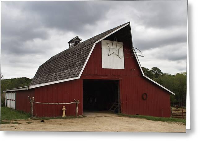 Horse Barn Greeting Card by Guy Shultz