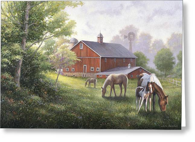 Horse Barn Greeting Card by John Zaccheo