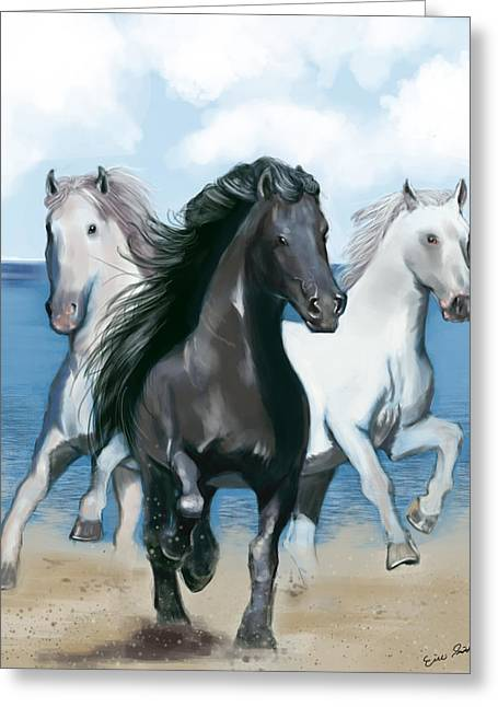 Horse Beach Greeting Card