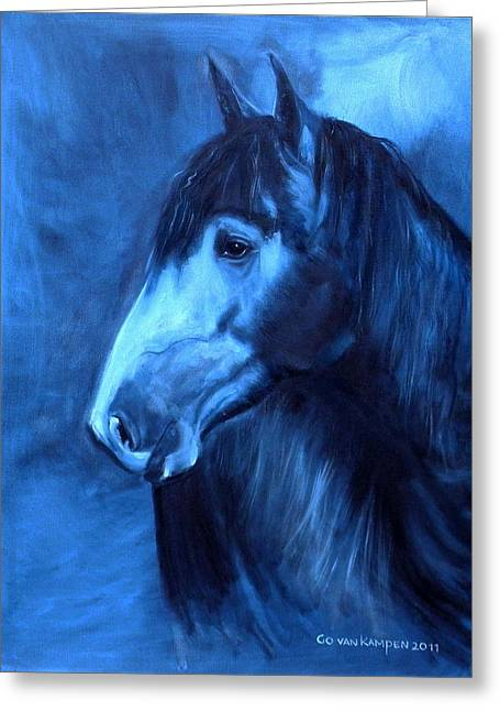 Greeting Card featuring the painting Horse - Carol In Indigo by Go Van Kampen