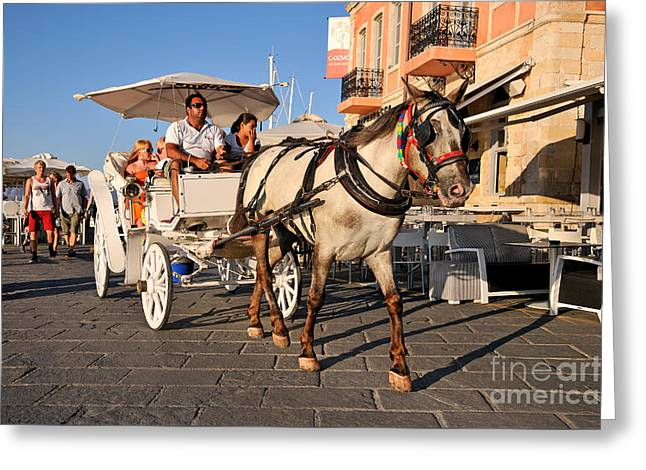 Horse Carriage At The Old Port Of Chania Greeting Card by George Atsametakis
