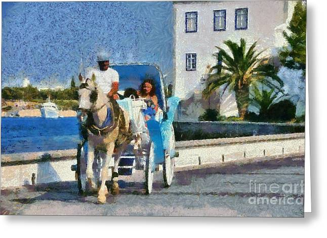 Horse Carriage In Spetses Island Greeting Card