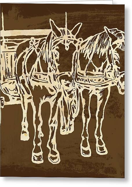 Horse Carriage - Stylised Pop Modern Etching Art Portrait - 1 Greeting Card by Kim Wang