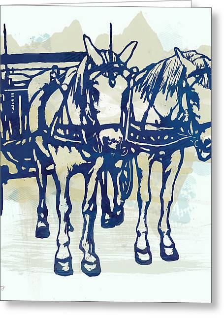 Horse Carriage - Stylised Pop Modern Etching Art Portrait Greeting Card by Kim Wang