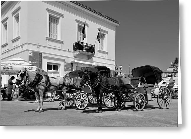 Horse Carriages In Spetses Town Greeting Card