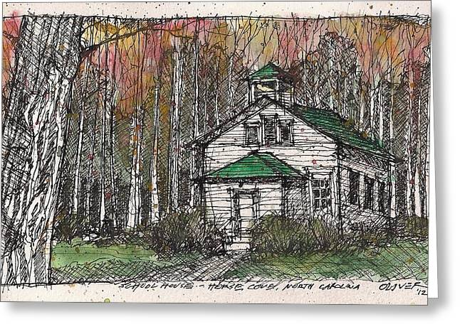 Greeting Card featuring the mixed media Horse Cove School by Tim Oliver
