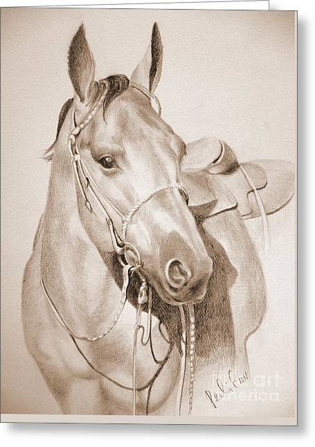Horse Drawing Greeting Card by Eleonora Perlic