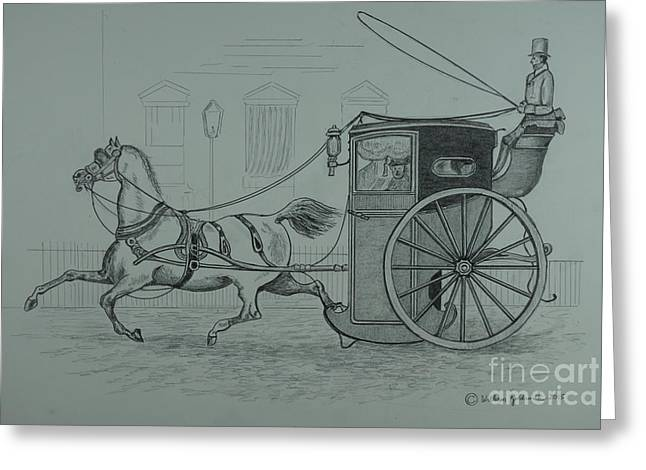 Horse Drawn Cab 1846 Greeting Card