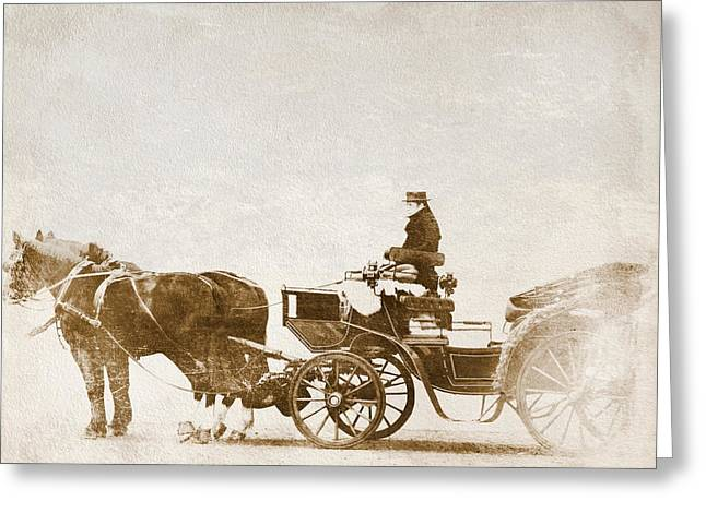 Horse-drawn Carriage Greeting Card by Heike Hultsch
