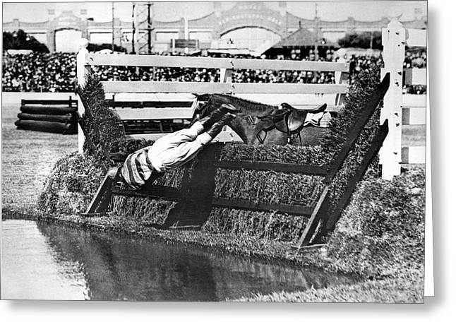 Horse Dumps Rider In Pond Greeting Card by Underwood Archives