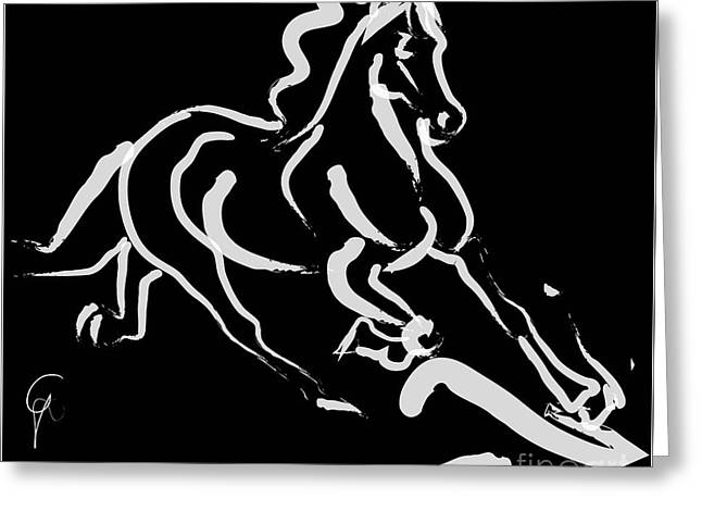 Horse - Fast Runner- Black And White Greeting Card