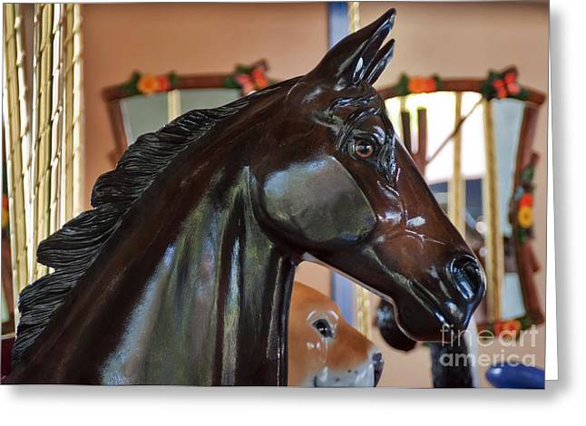 Horse Go Round Greeting Card by Dan Holm