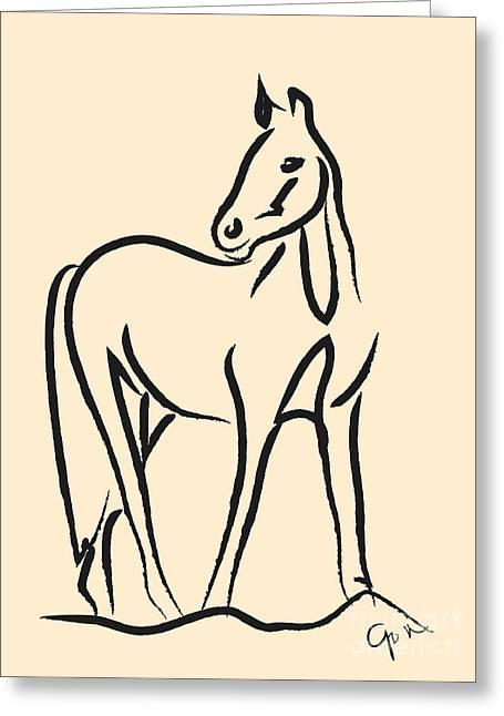 Greeting Card featuring the painting Horse - Grace by Go Van Kampen