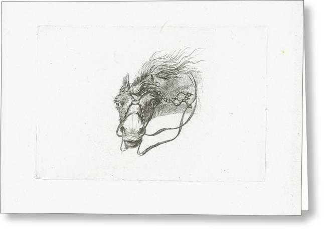 Horse Head With Flowing Mane, Joannes Bemme Greeting Card by Joannes Bemme And Gerrit Malleyn