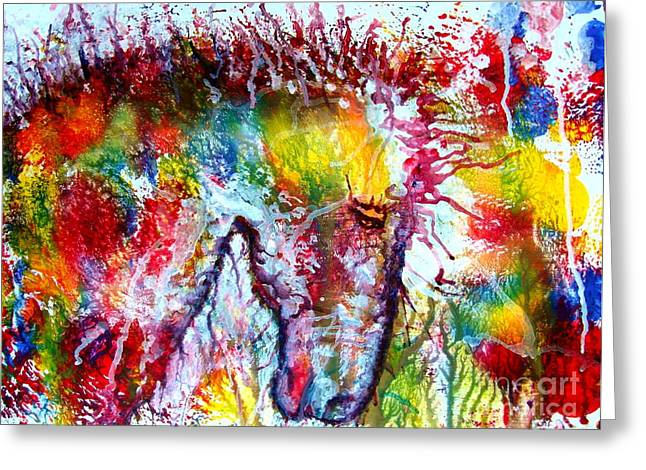 Horse In Abstract Greeting Card by Anastasis  Anastasi