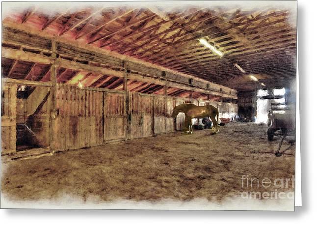 Horse In Barn Greeting Card by Dan Friend
