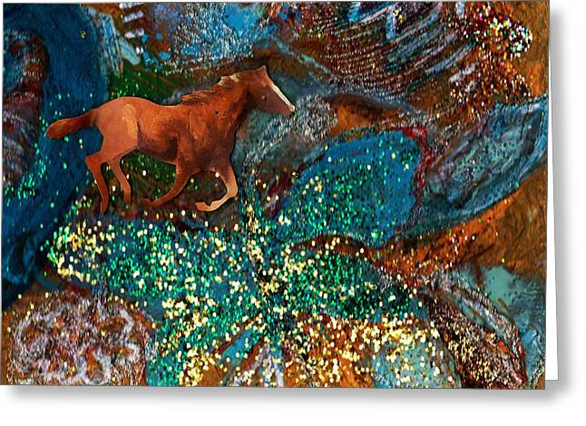 Horse In Fantasy Land Greeting Card by Anne-Elizabeth Whiteway