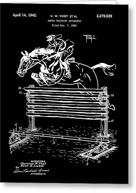Horse Jump Patent 1939 - Black Greeting Card