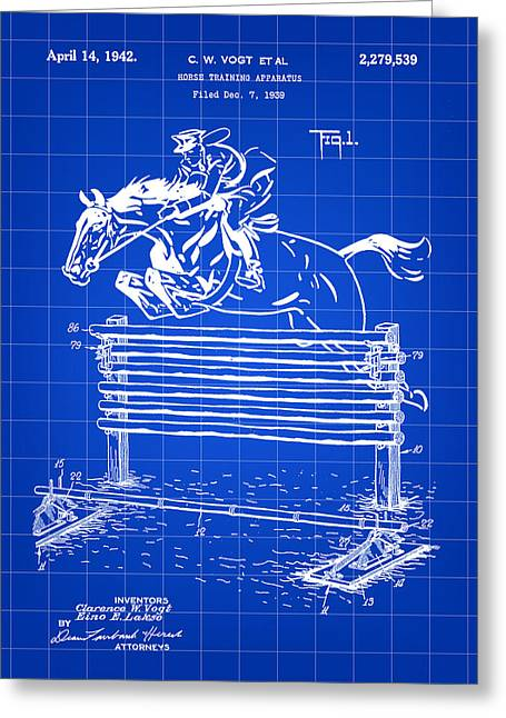 Horse Jump Patent 1939 - Blue Greeting Card