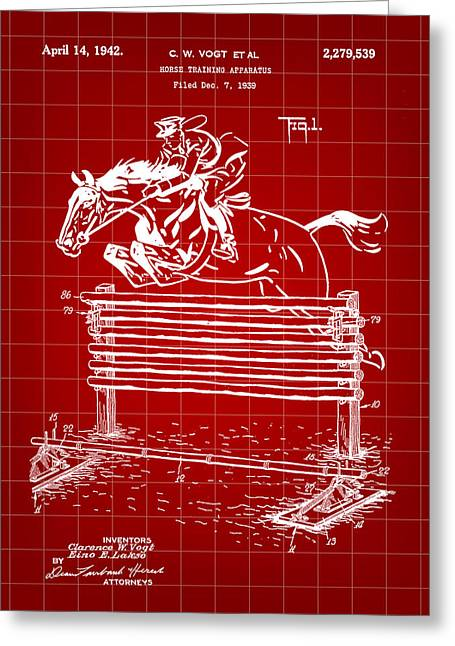 Horse Jump Patent 1939 - Red Greeting Card